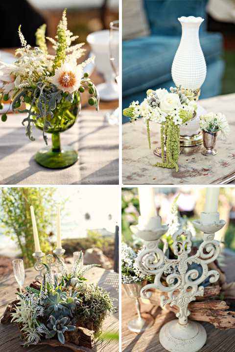Vintage goblets were used for floral containers as well as water goblets for